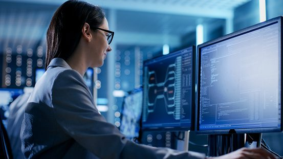 Photo of woman protecting data on network